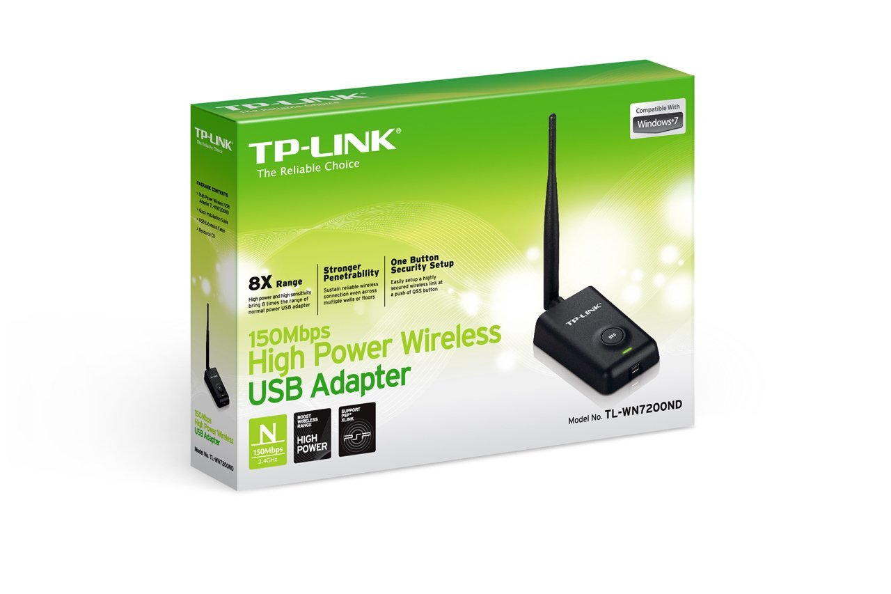 Adaptador USB Inalámbrico High Power, N 50Mbps, 1 Antena Desmontable Omnidireccional de 5dBi, Incluye Extensión de Cable USB 1.5 Metros, TP-LINK TL-WN7200ND