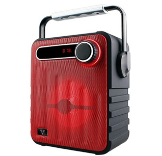 Bocina Portátil Recargable BSP-200, Bluetooth, Micro SD / USB / FM, 3.5 mm, Color Rojo, VORAGO® AU-575874-4
