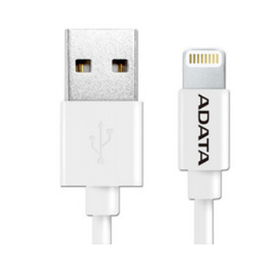 Cable Adata Lightning a USB, 1m. Color Blanco, AMFIPL-100CM-CWH