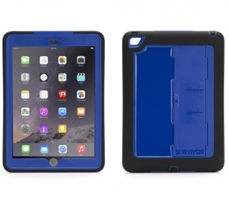 Carcasa con Soporte Griffin Survivor Slim para iPad Air 2, Color Negro & Azul / 685387411108