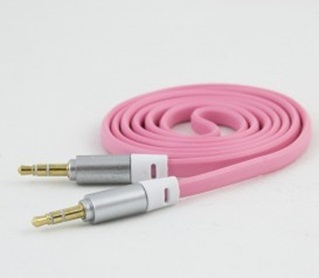 Cable de Audio 3.5mm, Plano, 1 metro, Color Rosa
