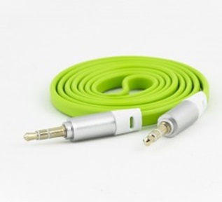Cable de Audio 3.5 mm - 3.5 mm (M-M), Longitud 1.0 Metros, Color Verde, NACEB NA-488VER